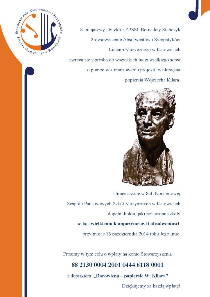 Projekt popiersia Wojciecha Kilara